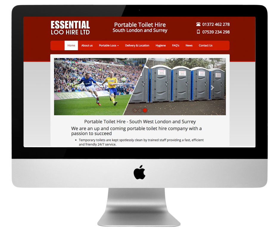 Mobile responsive website design for a Surrey based portable toilet hire company