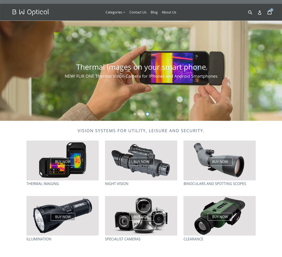 Ecommerce website retailing opttical equipment